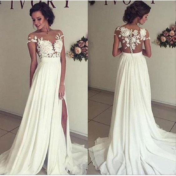 2019 Beach Wedding Dress Off Shoulder Wedding Dresses Appliques