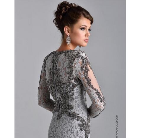 0615a2a9f3 Elegant Long Sleeve Mother of Bride Dress Formal Evening Dresses 2018 Full  Beaded Lace Sheath Long ...