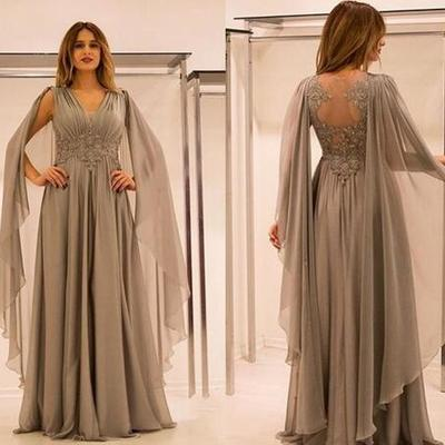 26212caf2bc58 new mother of the bride dresses v neck lace appliques beaded with cape  silver chiffon plus