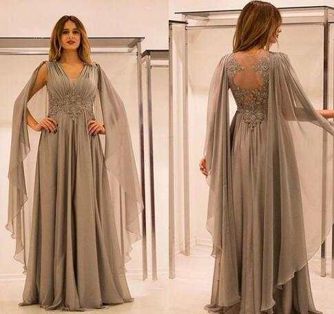 2c6879c5054 New Mother Of The Bride Dresses V Neck Lace Appliques Beaded With Cape  Silver Chiffon Plus
