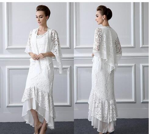 2018 Formal Lace Mother Of the Bride Dresses Long sleeves Sheath High Low  Plus Size Mother Dress With Coat Evening Gowns Cheap Custom from MissZhu ...
