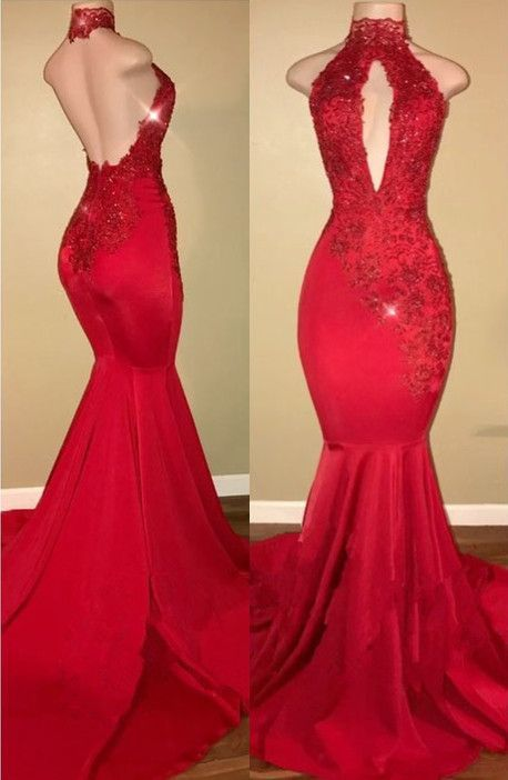 Open Back Mermaid Satin Prom Dresses Halter Neck Lace