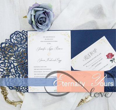 Navy Blue Laser Cut Pocket Wedding Invitation Suites Customizable Invites With Envelope From Eternally Yours Custom Bridals