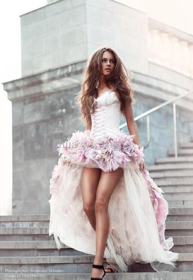 370588f71 Beach Wedding Dresses Short Front And Long Back A Line With 3D Handmade  Flowers All Around