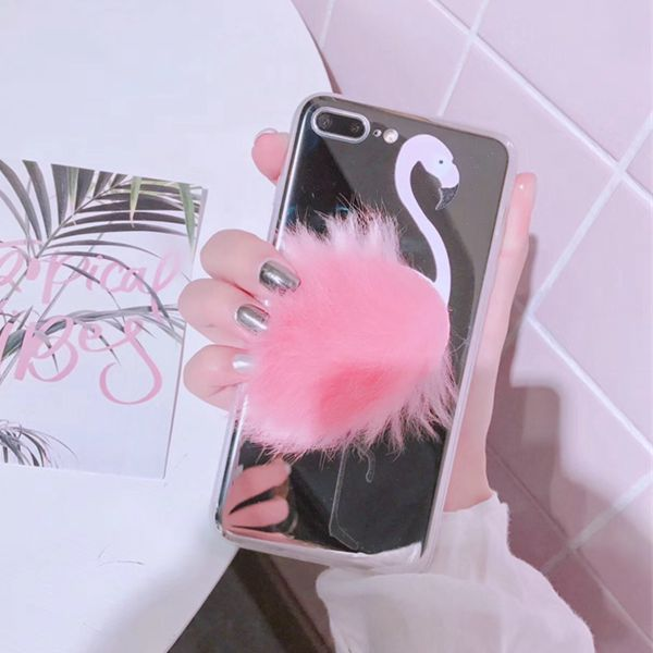new concept f208e eb4b3 3D Cute flamingo plush mirror phone case for iphone 6s case silicone tpu  back cover for iphone 6 7 8 plus x 10 case luxury from Super Cute