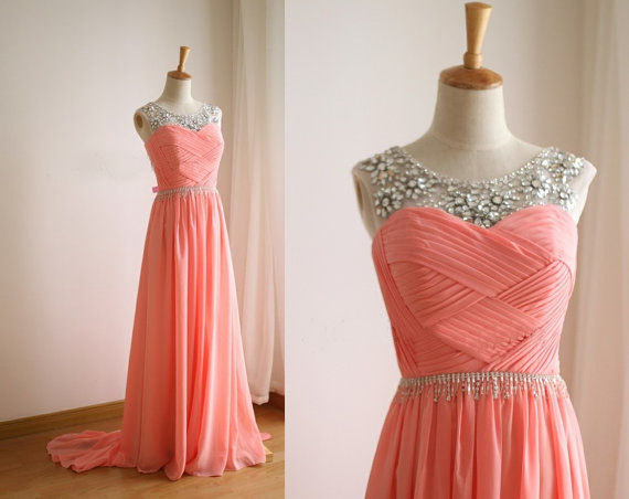 2550f922ef51 Handmade Coral Chiffon Round Neckline A line Floor Length Prom Dresses with  Beadings, Coral Chiffon Prom Dresses, Prom Dresses,Bridesmaid Dress on  Storenvy