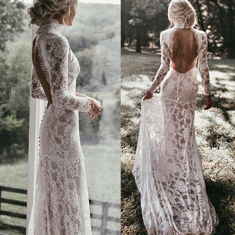 0409f61d91 Vintage Lace High Neck Mermaid Wedding Dress Long Sleeves Sexy Open ...