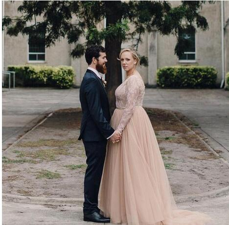 Plus Size 2019 New Country A Line Wedding Dresses V Neck Long Sleeves Lace  Appliques Beaded Blush Pink Tulle Wedding Gowns Bridal Dress from MissZhu  ...