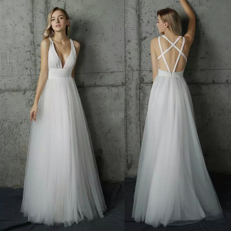 013ebbc110d White Long Prom Dress Elegant 2018 Sexy V-Neck Open Back A-Line Tulle