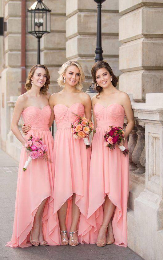 8de320df70 Chiffon High Low Bridesmaid Dress, Pink Sweetheart Bridesmaid ...