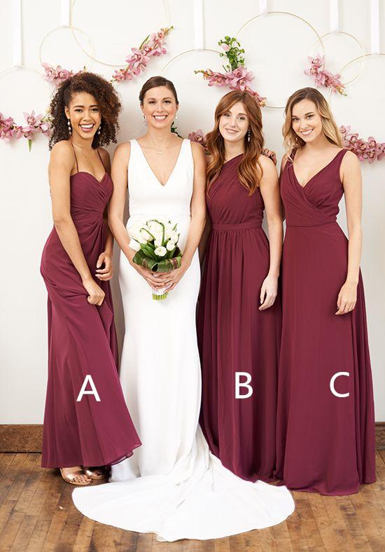 ca5fe6b46a4a Mismatched bridesmaid dresses, chiffon bridesmaid dresses, maroon  bridesmaid dresses. PD2118