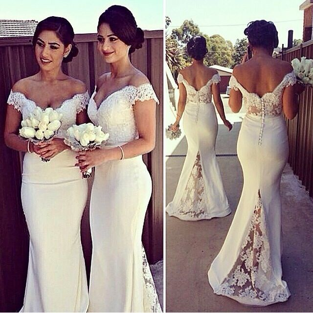 c23ca722189 Sexy Off-shoulder Mermaid Bridesmaid Dress With Lace Appliques on ...