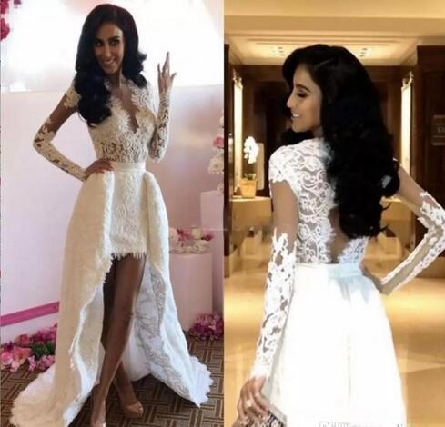 676478e0b34 Sheath Long Sleeves Wedding Dresses With Detachable Train Sheer ...
