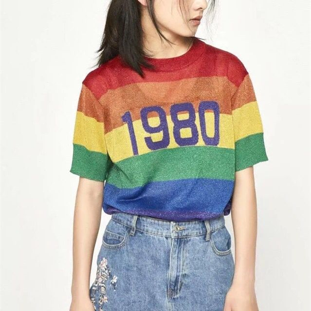0bef947403 1980 Rainbow T Shirt Tee Women Knitted Tops Pullovers on Storenvy