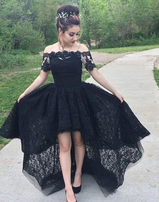 2644e2a636 Black Lace Prom Dress High Low Gown with Short Sleeves on Storenvy