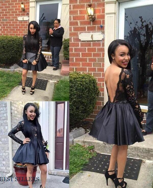 460833a2d49 Black Lace Short Cocktail Dress Satin Sexy Open Back Long Sleeve High Neck  Short Homecoming Dresses