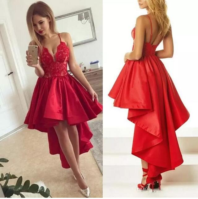 Red High Low Satin Lace Homecoming Dress Spaghetti Straps Sexy Open Back Formal  Short Prom Gown 09a701562