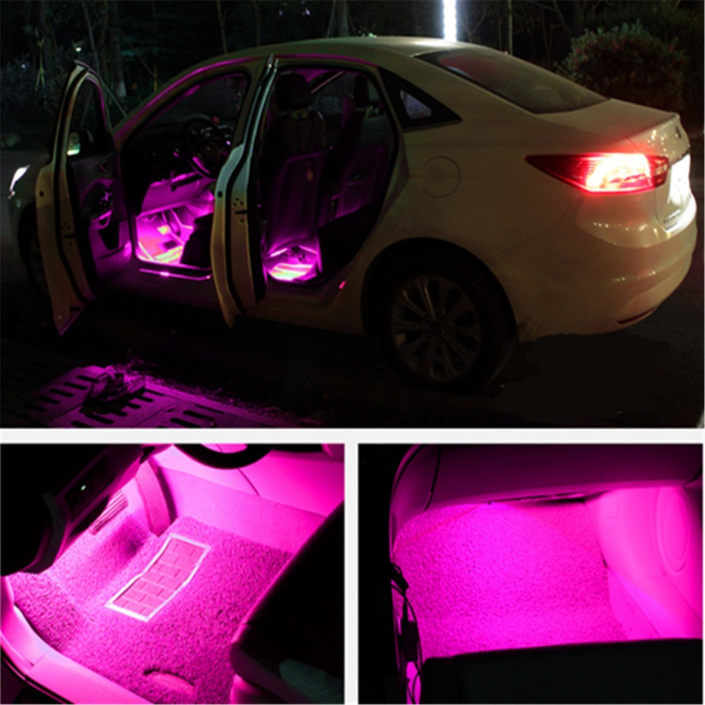 Car Interior Lights 4pcs 36 Led Dc 12v Waterproof Atmosphere Neon Lights Strip Pink From Omg Store