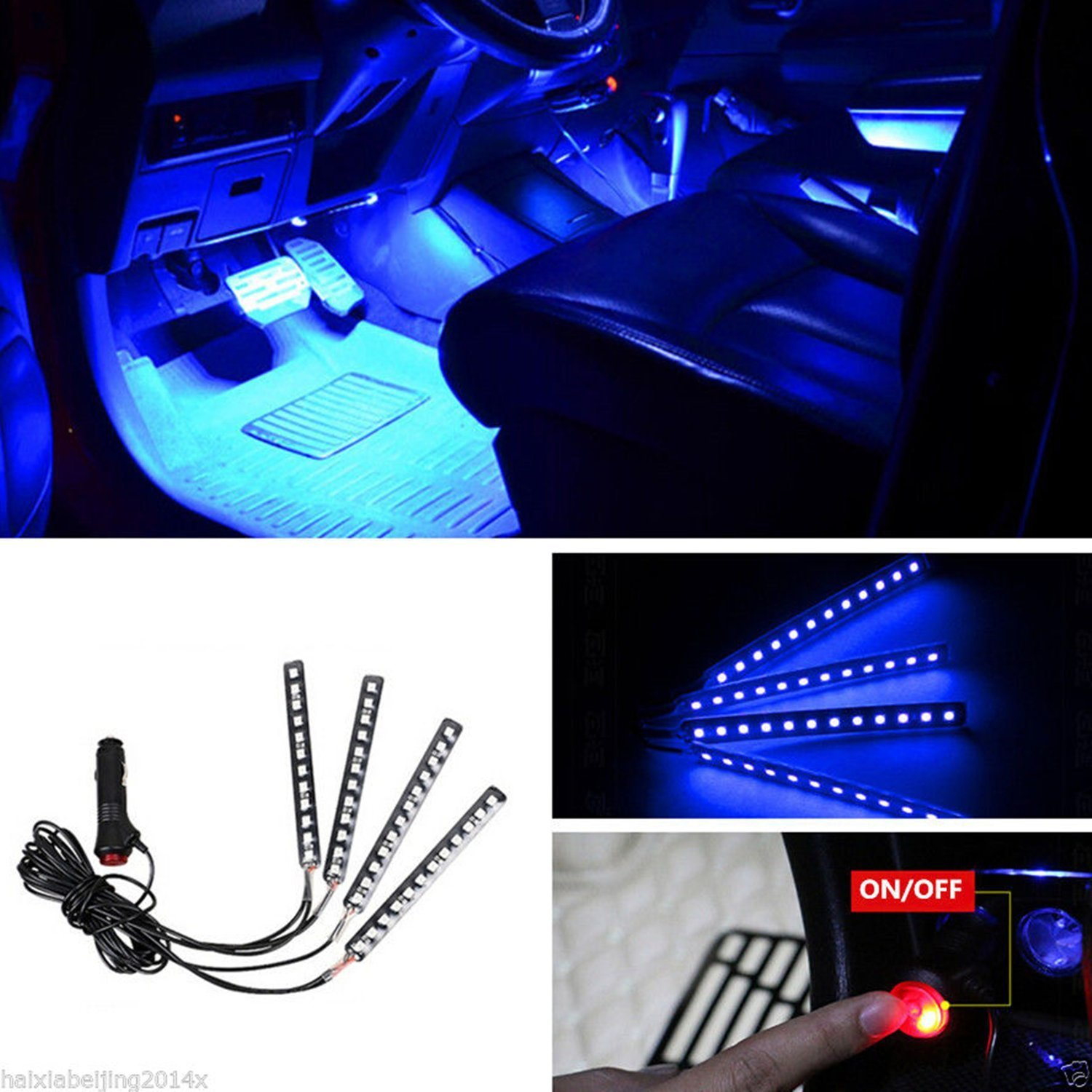 LED Car Interior Footwell Neon Decorative Atmosphere White Lamp Strips Universal
