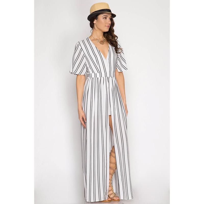 28c5528ef07 Panelope Striped Romper With Maxi Skirt (White) · Modas Inc ...