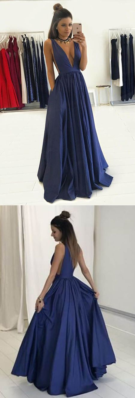 A-Line Deep V-Neck Royal Blue Satin Pleated Prom Dress with Pockets ... a0ec34460
