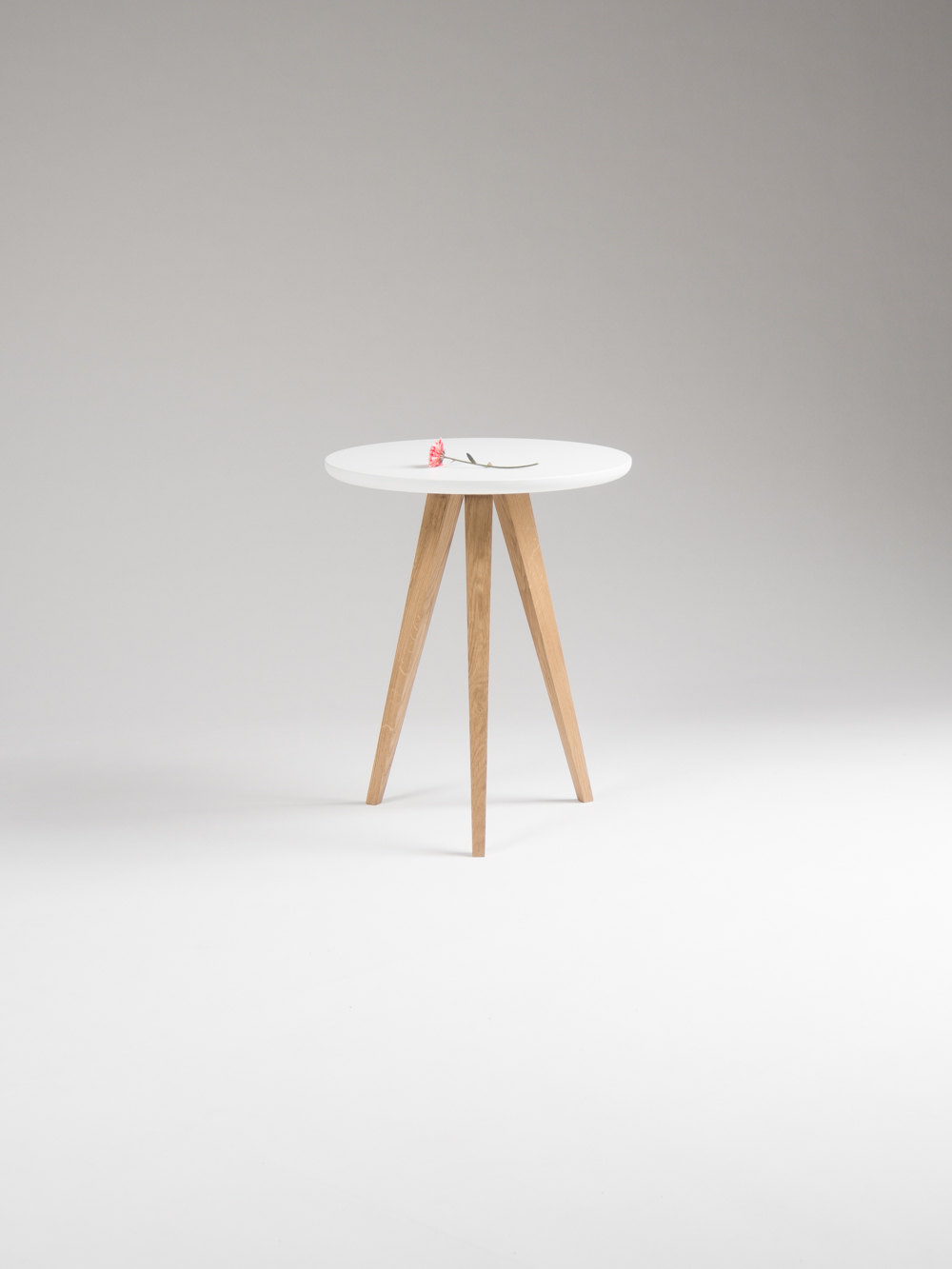 - Round White Nightstand, Small Accent Table, Side Table With Three