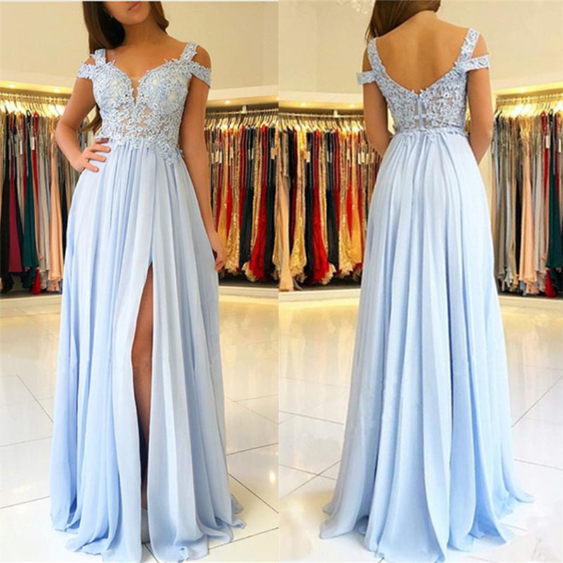 4150c787a6c2 Light Blue Lace Evening Dress Sexy Sweetheart Open Back Appliques Beaded  Chiffon High Slit Floor Length