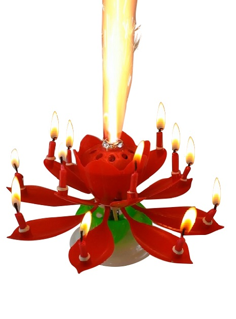 Red Lotus Flower Birthday Exciting Candle
