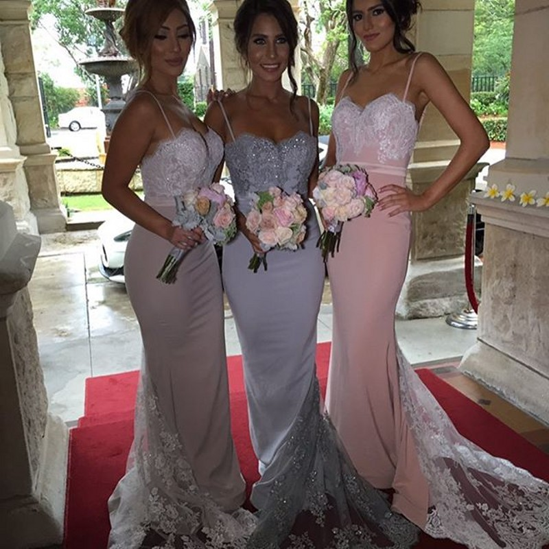 8b9bdc8d971 Glamorous Mermaid Bridesmaid Dress Spaghetti Straps Sweetheart Lace  Appliques Sequins Beaded Summer Prom Evening Gowns