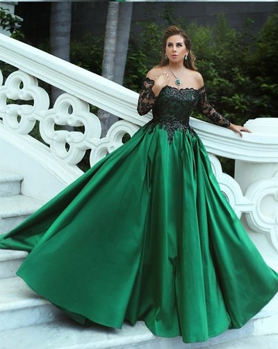 bdb8f45784 Black and Green Prom Dress Ball Gown Off Shoulder Bateau Long Sleeve Lace  Appliques Beaded Satin