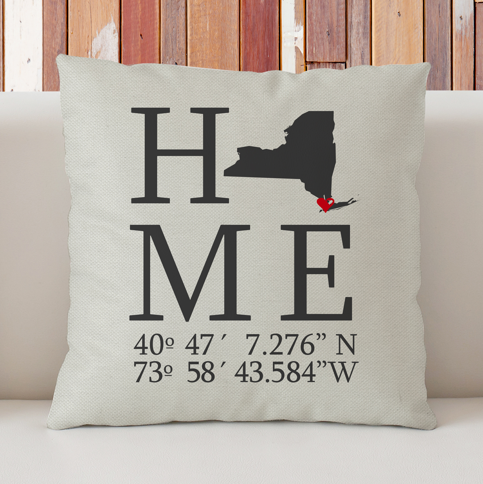 Personalized New York Home State Pillow With Coordinates Sold By Bebolddecor On Storenvy