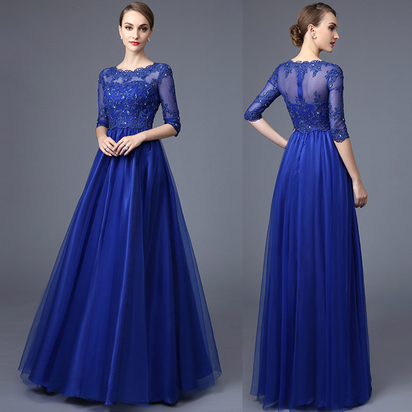59fc9c20108c3 Royal Blue Formal Prom Dress Jewel Neck Half Sleeve Lace Appliques Sequins  Beaded Tulle Floor Length