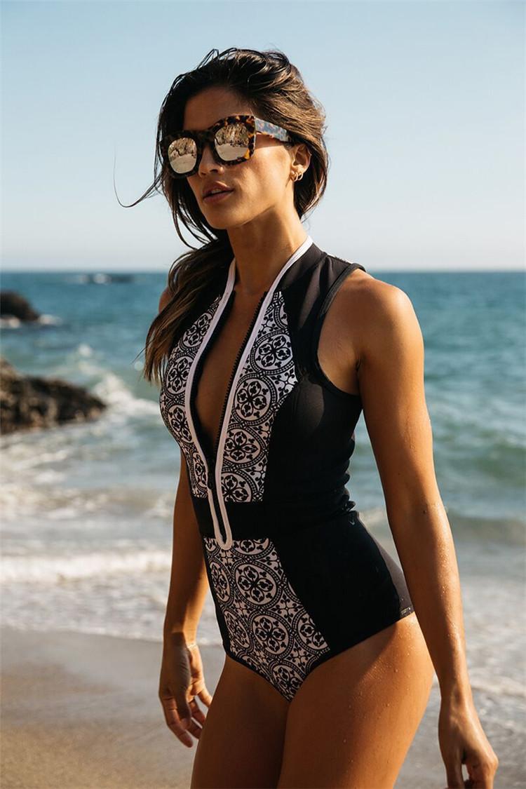 2c8e57c86fc10 Women Vintage Brazilian Zipper Monokini One Piece Swimsuit Sexy ...
