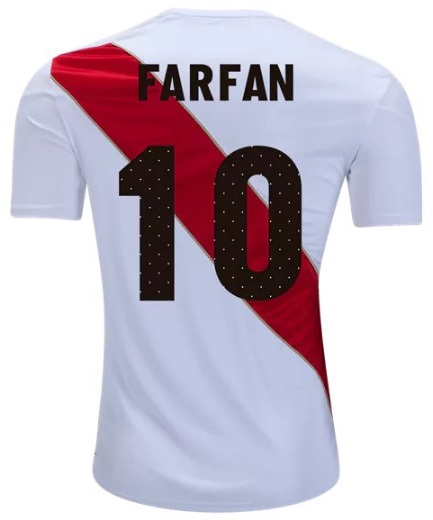 ebd5b064a Peru Men s Jefferson Farfan  10 National Team Home Soccer Jersey 2018 Shirt  White