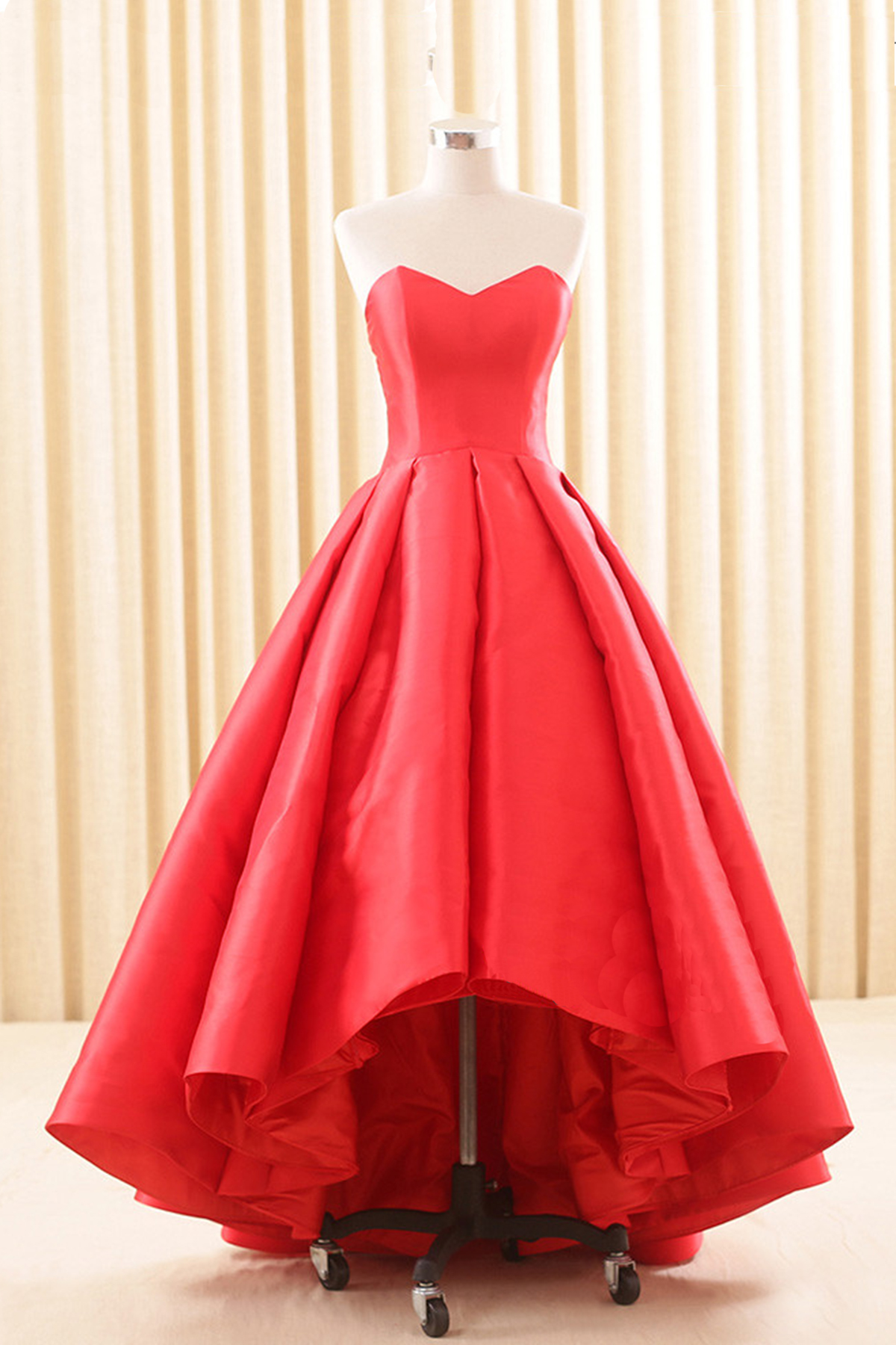 01b905b73e Sweetheart red satin high low homecoming dress