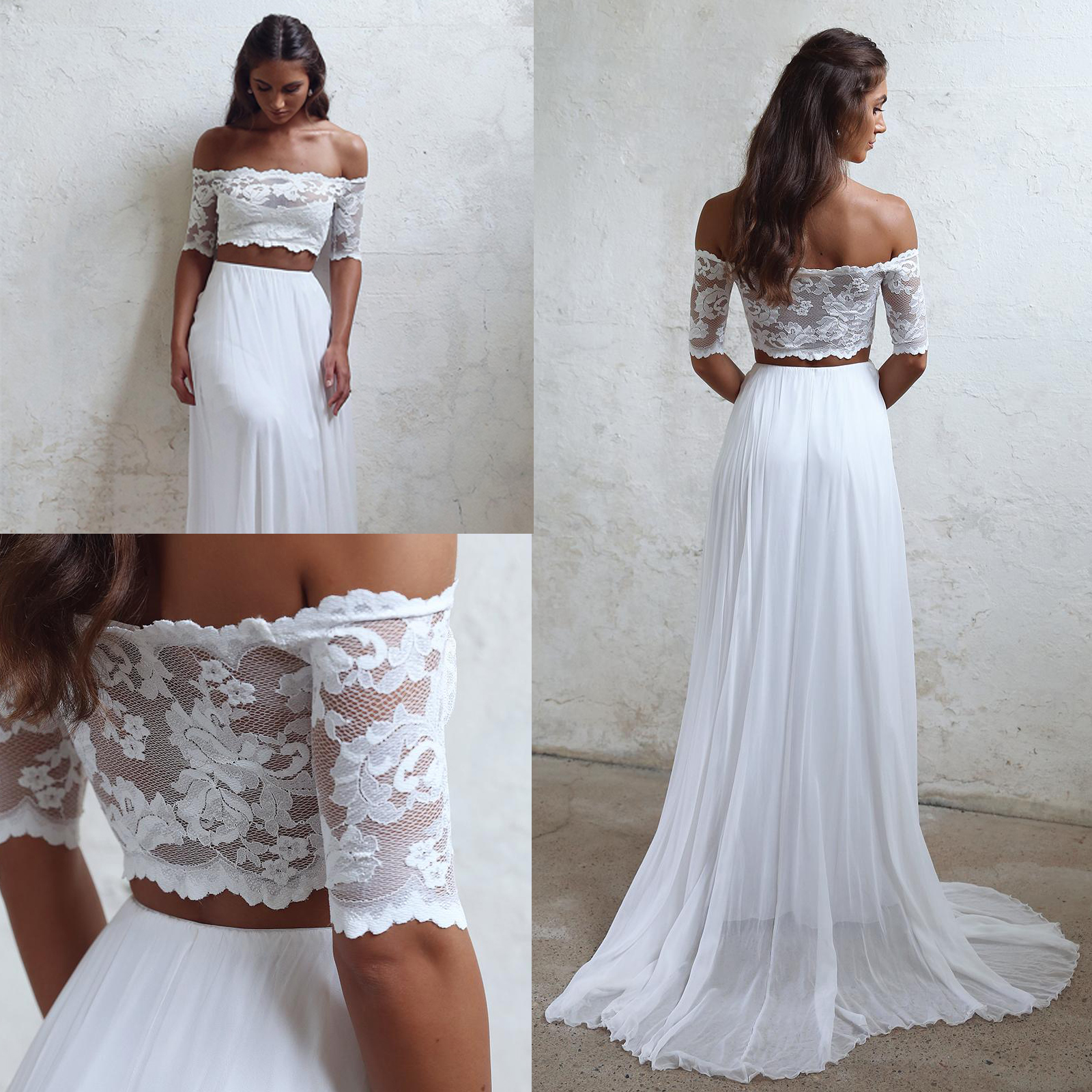 Wedding Gown Tops: Ivory Chiffon Wedding Dress Two Piece Lace Top Off