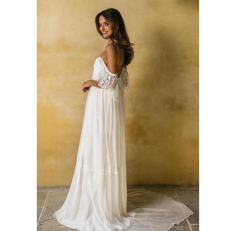 5f8ad03899 Spaghetti Straps Lace Beach Bohemian Wedding Dresses Chiffon ...