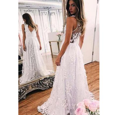 Sexy Bohemian Beach Wedding Dresses Deep V Neck Sleeveless Beaded Lace Sheer Back Bridal Gowns With Sweep Train Boho Wedding From Mrtang