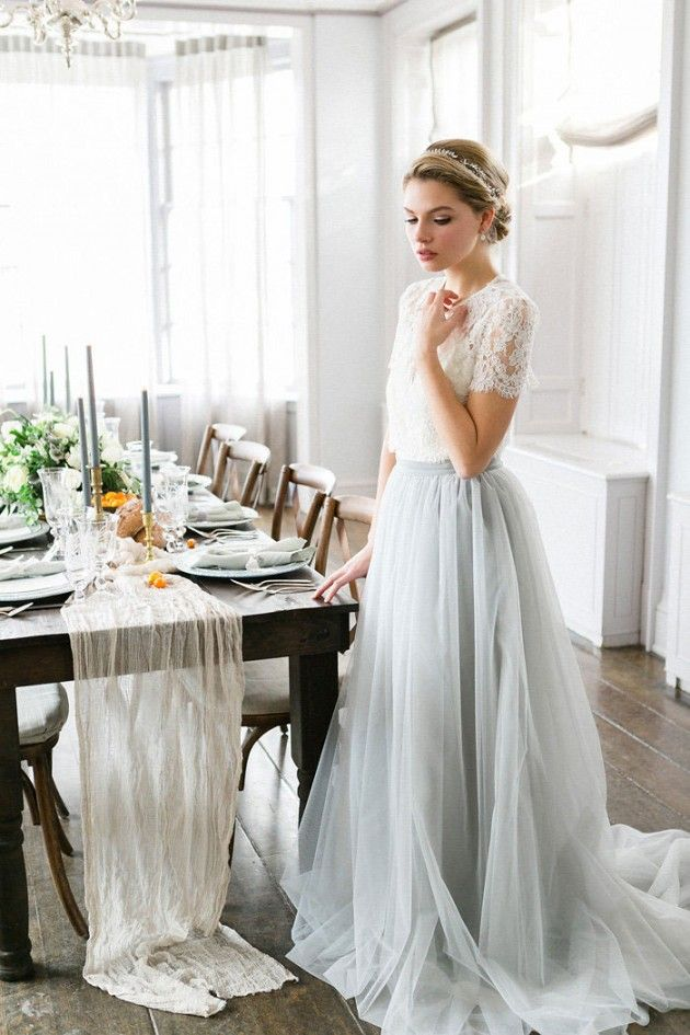 Grey Tulle Wedding Dress Two Piece Lace Top Short Sleeve Jewel Neck