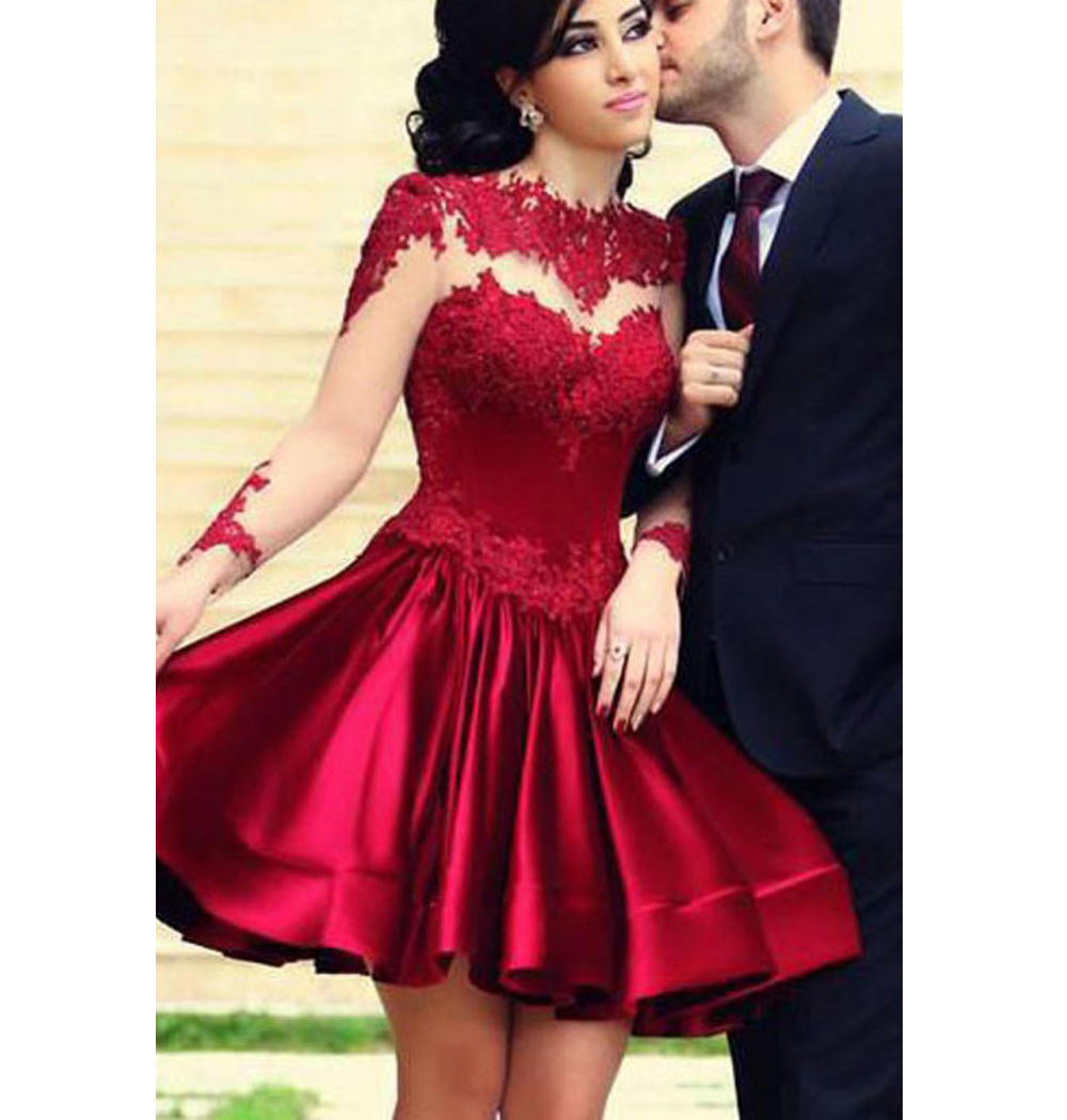 574117ab8c Burgundy Homecoming Dress High Neck Lace Appliques Long Sleeve Short Mini Prom  Dresses Cocktail Gown