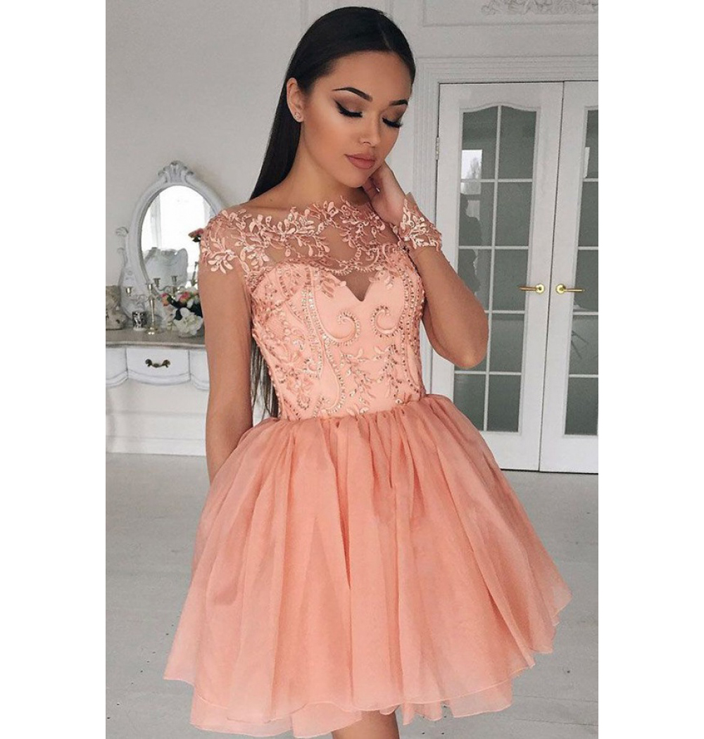 24451d4672f Pink Homecoming Dress Lace Appliques Sequins Beaded Long Sleeve Bateau  Short Prom Dresses Cocktail Summer Gowns