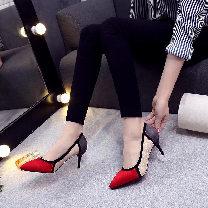 454f4c515b0 Free Shipping Mixed Color Pointed Toe 2018 Women pumps Fashion High ...
