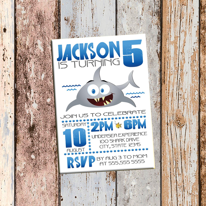 Shark Personalized Birthday Invitation 1 Sided, Birthday Card, Party ...