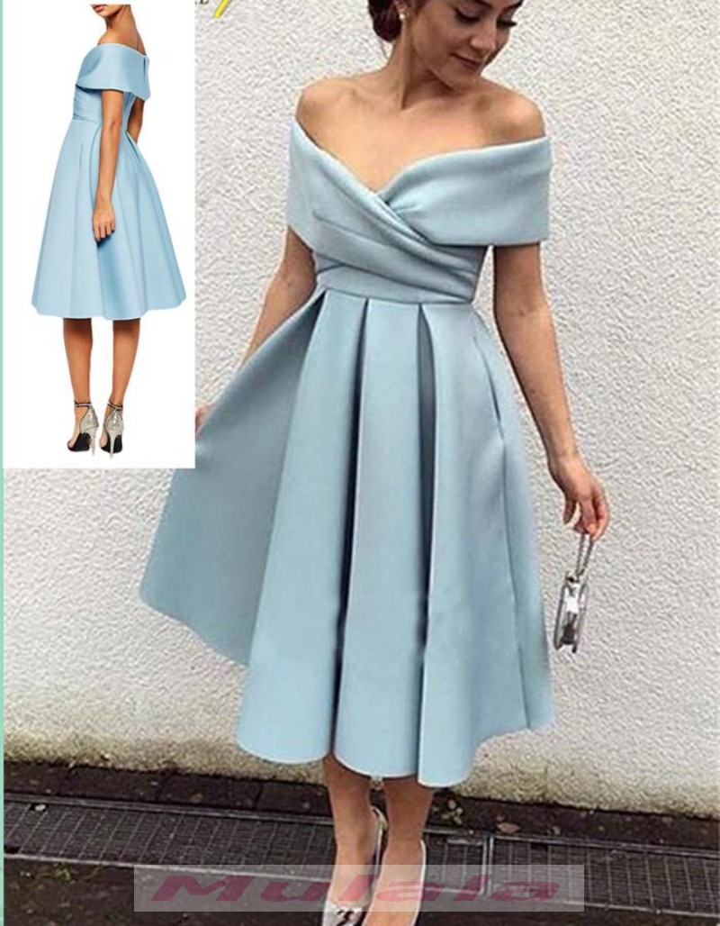 Off Shoulder Short Prom Dresses Vintage Tea Length Homecoming Dress Draped Party Gowns Promyan