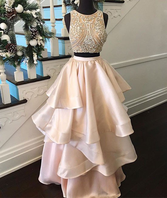 f72d4d4849e1a Prom Dress 2017 Princess pink two pieces beaded long prom dress,Blush pink  Two piece ...
