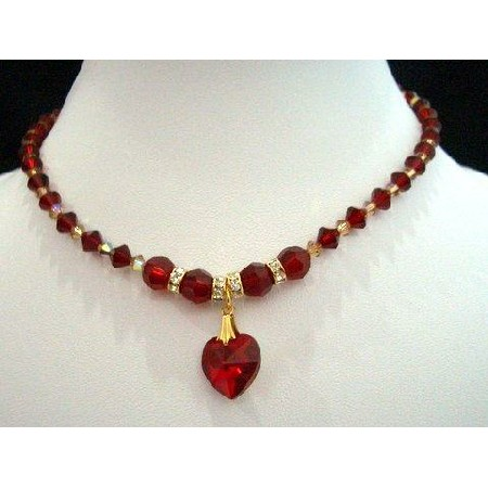 NSC206 Genuine Swarovski Crystals Red Siam Heart Necklace Bridal Necklace  Handcrafted Custom Jewelry 79d2153f63