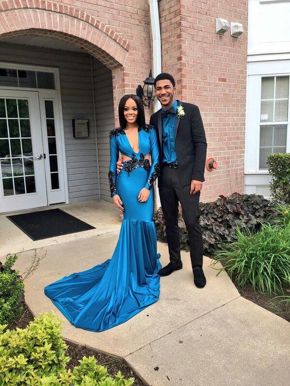 6490d1e9b671 Royal Blue Mermaid Satin Prom Dresses Sexy Deep V Neck Long Sleeve Black  Appliques African Girl