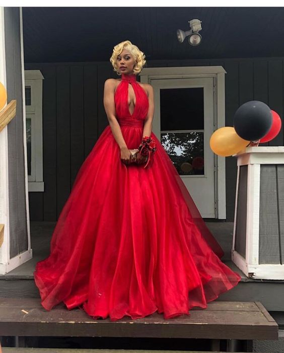 Red Ball Gown Tulle Prom Dresses High Neck Cutout African Girl Black Girl  Evening Formal Gowns ff3212ba0