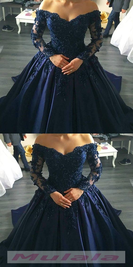 f8f4b4a4a881d Navy Blue Off Shoulder Ball Gown Prom Dresses Long Sleeves Lace Appliques Evening  Dress 2018 Corset