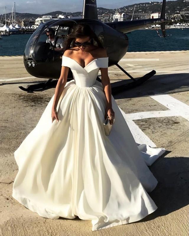 Deep V Neck Ball Gowns Satin Wedding Dresses Off The Shoulder